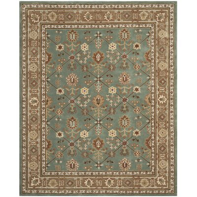 Wayland Hand-Hooked Blue/Taupe Area Rug Rug Size: 9 x 12