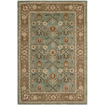 Wayland Hand-Hooked Blue/Taupe Area Rug Rug Size: 6 x 9