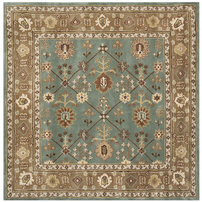 Wayland Hand-Hooked Blue/Taupe Area Rug Rug Size: Square 6 x 6