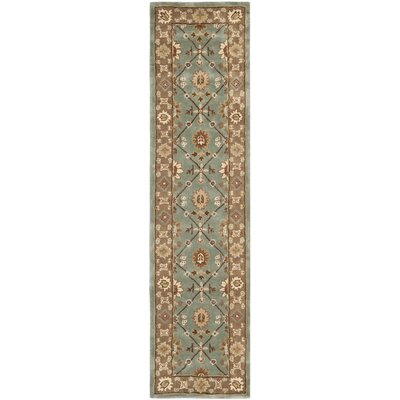 Wayland Hand-Hooked Blue/Taupe Area Rug Rug Size: Runner 23 x 9