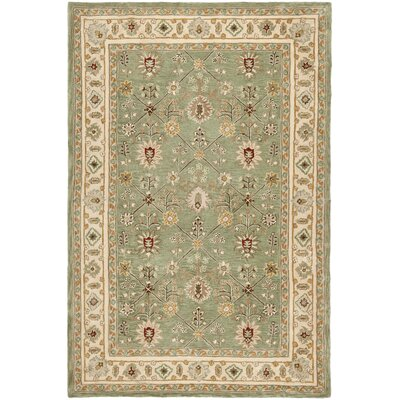 Wayland Hand-Hooked Green/Ivory Area Rug Rug Size: Rectangle 4 x 6