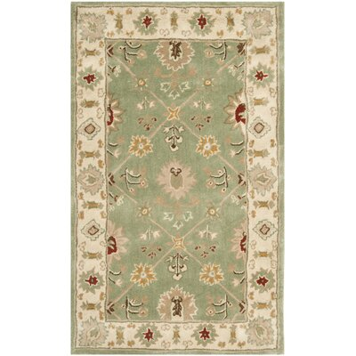 Wayland Hand-Hooked Green/Ivory Area Rug Rug Size: Rectangle 2 x 3