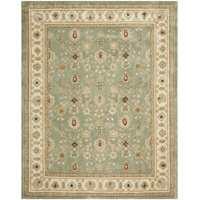 Wayland Hand-Hooked Green/Ivory Area Rug Rug Size: Rectangle 9 x 12