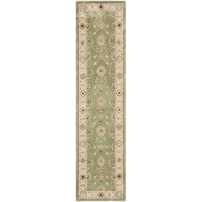 Wayland Hand-Hooked Green/Ivory Area Rug Rug Size: Runner 23 x 9