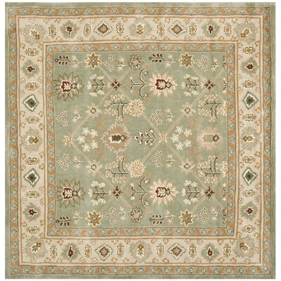 Wayland Hand-Hooked Green/Ivory Area Rug Rug Size: Square 6 x 6