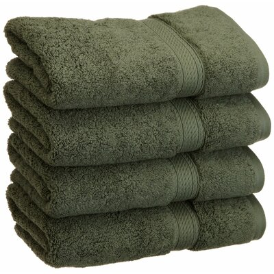 Spring Grove 900GSM Premium Long-Staple Combed Cotton Hand Towel Color: Forest Green