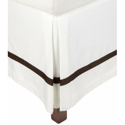 Parish 300 Thread Count Cotton Bed Skirt Size: Full, Color: White / Chocolate