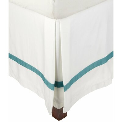 Parish 300 Thread Count Cotton Bed Skirt Size: Twin, Color: White / Turquoise