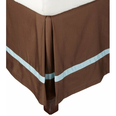 Parish 300 Thread Count Cotton Bed Skirt Size: Queen, Color: Mocha / Sky Blue
