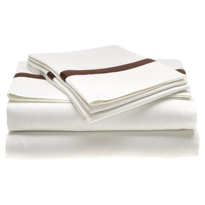 Parish 300 Thread Count 100% Cotton Sheet Set Color: White / Chocolate, Size: California King