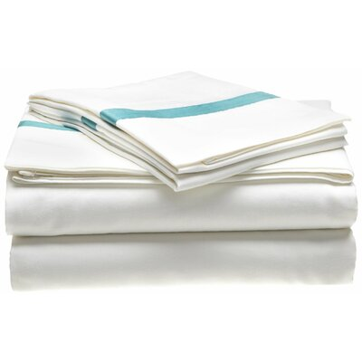 Parish 300 Thread Count 100% Cotton Sheet Set Size: King, Color: White / Turquoise