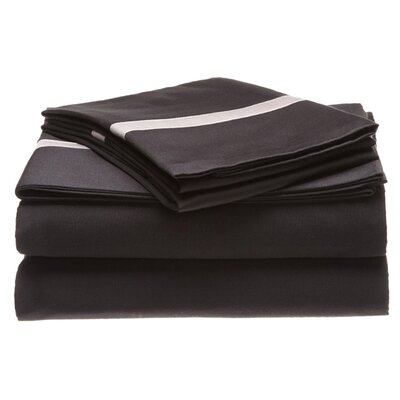 Parish 300 Thread Count 100% Cotton Sheet Set Color: Black / Grey, Size: Full