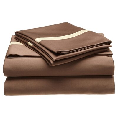 Parish 300 Thread Count 100% Cotton Sheet Set Size: Full, Color: Mocha / Honey
