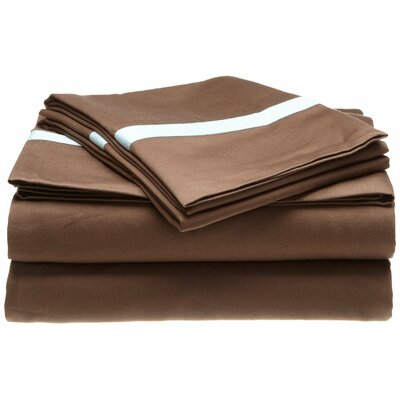 Parish 300 Thread Count 100% Cotton Sheet Set Size: Full, Color: Mocha / Sky Blue