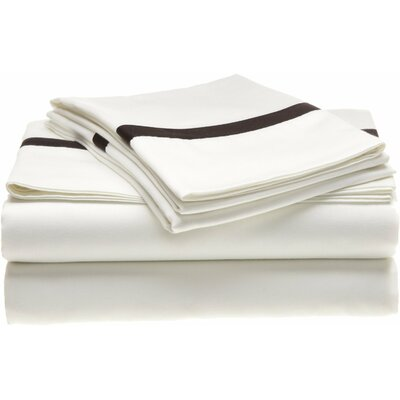 Parish 300 Thread Count 100% Cotton Sheet Set Size: California King, Color: White / Black