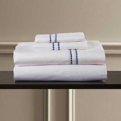 Bolivar 400 Thread Count Dot Embroidered Cotton Deep Pocket Sheet Set Size: Full, Color: Blue