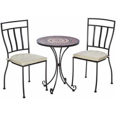 Caneadea 3 Piece Bistro Set with Cushions