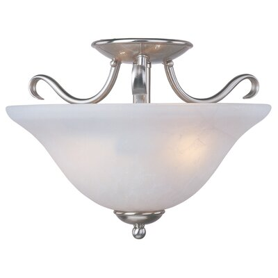 Birdsall 2-Light Semi Flush Mount Finish / Shade Color: Ice/Satin Nickel