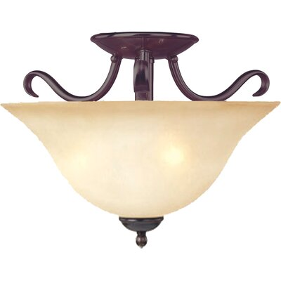 Birdsall 2-Light Semi Flush Mount Finish / Shade Color: Wilshire/Oil Rubbed Bronze