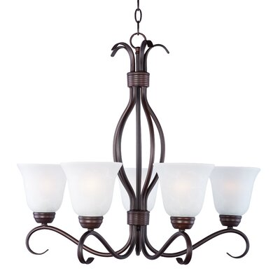 Birdsall 5-Light Shaded Chandelier Finish: Ice with Oil Rubbed Bronze