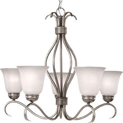 Birdsall 5-Light Shaded Chandelier Finish: Ice with Satin Nickel