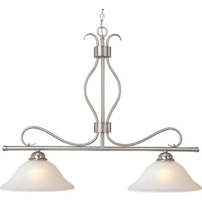 Birdsall 2-Light Kitchen Island Pendant Finish/Shade Color: Ice/Satin Nickel
