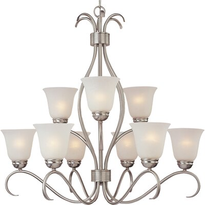 Birdsall 9-Light Shaded Chandelier Finish: Ice with Satin Nickel