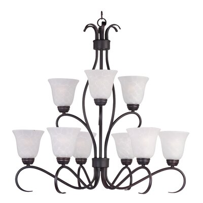 Birdsall 9-Light Shaded Chandelier Finish: Ice with Oil Rubbed Bronze