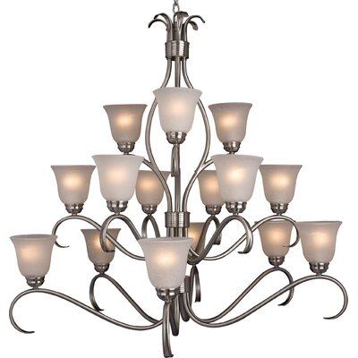Birdsall 15-Light Shaded Chandelier Finish: Icewith Satin Nickel Shade