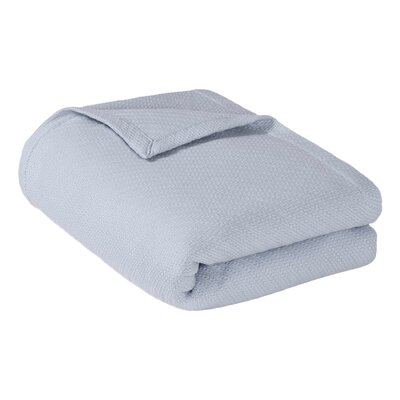 Rye Cotton Throw Blanket Color: Light Blue, Size: Full / Queen