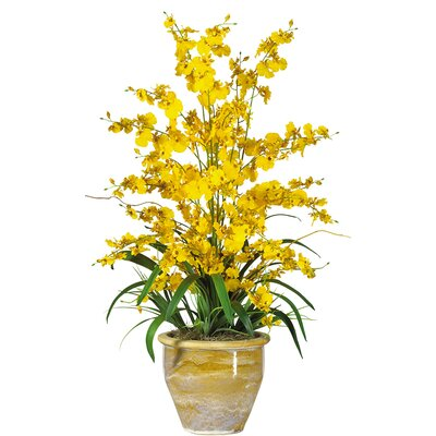 Triple Dancing Lady Silk Orchid Flowers in Yellow