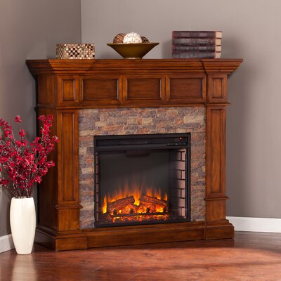 Winterstown Simulated Stone Convertible Electric Fireplace