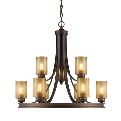 Russell Farm 9-Light Shaded Chandelier Shade Color: Beige