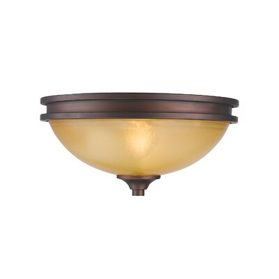 Russell Farm 2-Light Flush Mount Shade Color: Amber