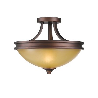 Russell Farm 2-Light Semi Flush Mount Shade Color: Beige