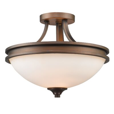 Russell Farm 2-Light Semi Flush Mount Shade Color: Opal