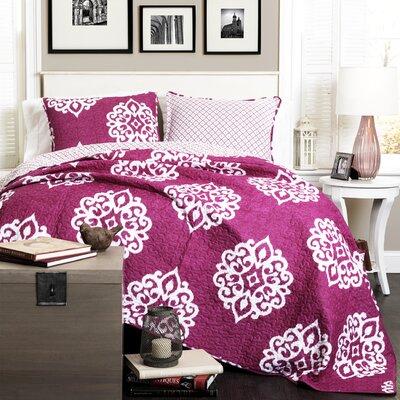 Stroudsburg 3 Piece Reversible Quilt Set Size: Full / Queen, Color: Fuchisa
