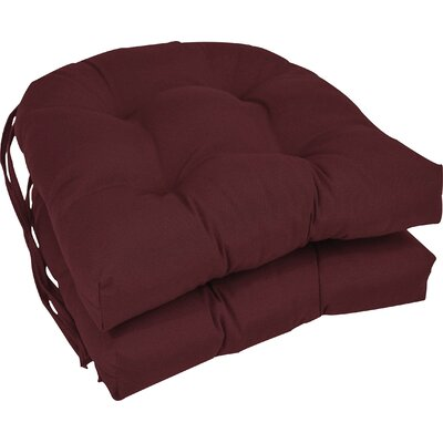 Outdoor Solid Twill Dining Chair Cushion Color: Burgundy