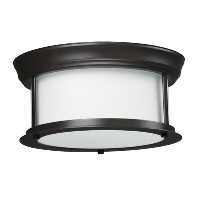 Stonehedge 2-Light Flush Mount Size: 5.25 H x 13.25 W, Finish: Bronze