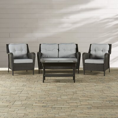 Rockland 4 Piece Deep Seating Group with Cushion Finish: Grey