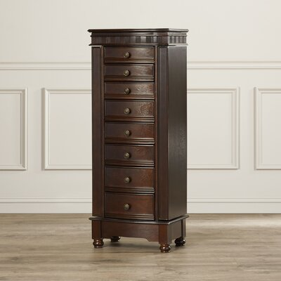 Obrien Jewelry Armoire with Mirror Finish: Coffee