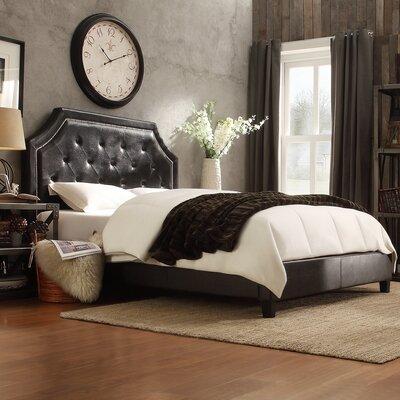 Haysville Upholstered Panel Bed Size: King, Color: Black Bonded Leather