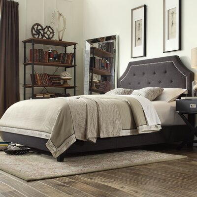 Somerby Upholstered Panel Bed Size: King, Upholstery: Linen - Dark Gray