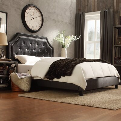 Haysville Upholstered Panel Bed Upholstery: Black Bonded Leather, Size: King