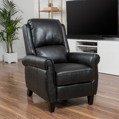 Lofton PU Leather Recliner Club Chair Upholstery: Black