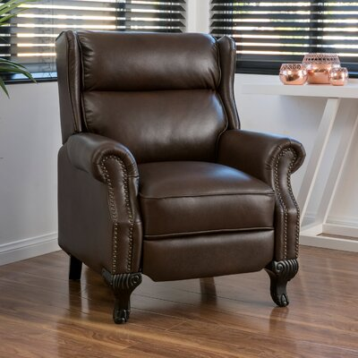 Andress Manual Recliner Upholstery: Dark Brown