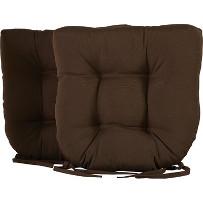 Outdoor Solid Twill Dining Chair Cushion Color: Chocolate