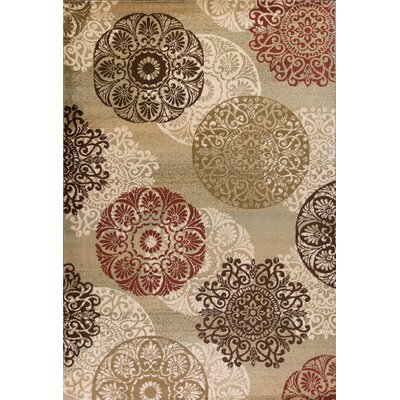 Winterberry Beige/Brown/Red Area Rug Rug Size: 53 x 78