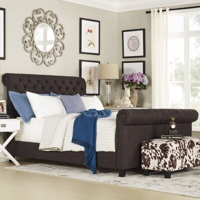Carthusia Queen Upholstered Sleigh Bed Color: Dark Gray