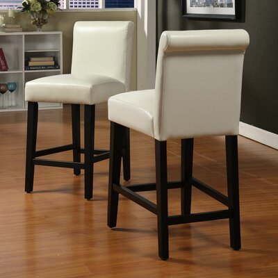 Genesee 24 Bar Stool Upholstery: White